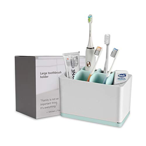 kitchenhoney Toothbrush Holder Multifunctional BathroomToothpaste Caddy Toothbrush Organizer Stand for Electric Toothbrush, Toothpaste, Comb, Razor (Large)
