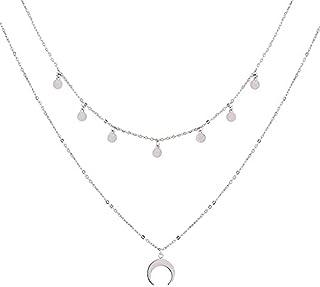 mooi Ketting mode ketting multi-layer wafer moon ketting sieraden ketting zilveren kleur voor vrouwen ketting