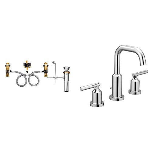 Moen T6142-9000 Gibson Two-Handle Widespread Bathroom Faucet with Valve, Chrome