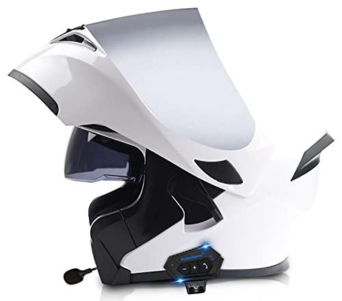 STRTG Bluetooth Integrado Modular Casco Moto Integral para Motocicleta, Personalidad Fresca Casco con Doble Visera, para Montar Al Aire Libre Apto para Cruceros Locomotora ECE Approved T,XL