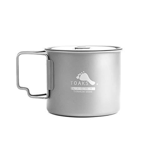 TOAKS Pure Titan Geschirr im Freien Becher Camping Tasse, große Größe Kann als Topf Verwendet Werden(375ml,450ml,550ml,650ml,750ml,1100ml) (550ml(Ultraleicht))
