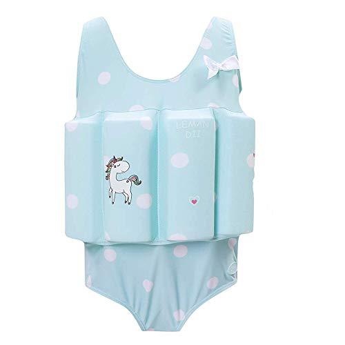 Lemandii One-Piece Children Buoyancy Swimsuit Swim Vest Detachable Float Swimwear, Perfect for Kids or Baby Learn to Swimming (Light Blue, L)