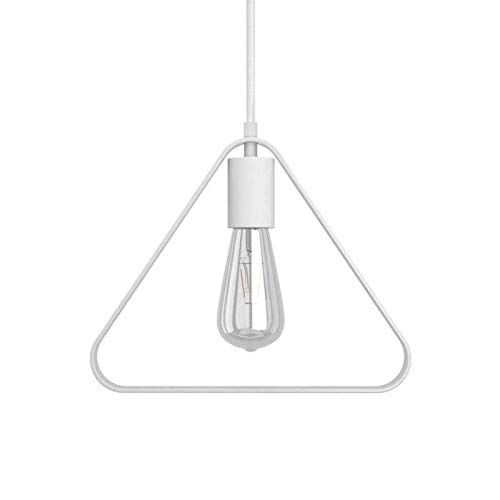 Lámpara Colgante Cable Textil, Bombilla, Pantalla Duedi Apex y Acabados en Metal - Si, Blanco