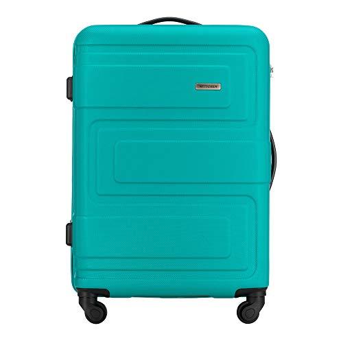 Stabiler Mittlerer Koffer Trolley Koffer Reisekoffer von WITTCHEN ABS Hartschalen Trolley 4 Rollen Kombinationsschloss Türkis