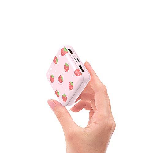Yoobao モバイルバッテリー 軽量 小型 10000mAh かわいい 大容量 2USBポート 急速充電 PSE認証済 コンパクト ミニ 携帯充電器 iPhone iPad Android 対応 ピンク いちご