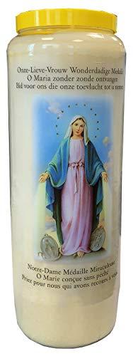 Virgen medalla milagrosa Vela de oración en tarro Novena 18 x 7 cm 100% vegetal Combustión 9 días – 216 horas