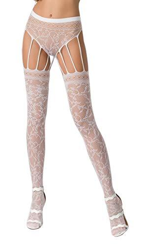 Damen Dessous Strumpfhose im Straps Look aus Slip und Stockings elastisch transparent gemustert weiß