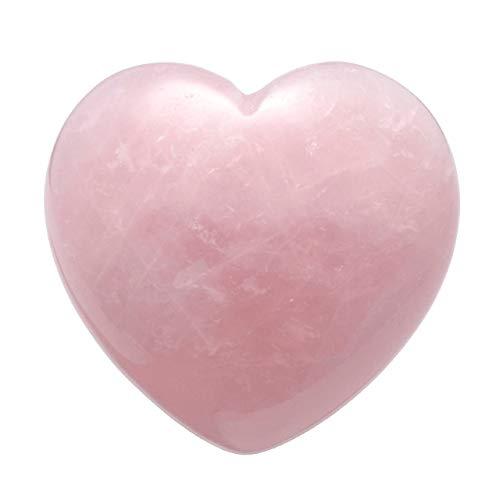 QGEM Pierres précieuses Pouce en Forme de Cœur Pierre de Quartz Rose Brut Naturelle Polie Symbole Porter Bonheur Cadeau Méditation