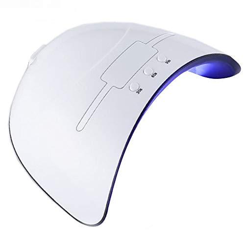 LED UV Nail Lampe USB Sèche-Ongles 36 W Lampe De Durcissement des Ongles Capteur Intelligent Sèche-Ongles Portable Professionnel Ongles Outils avec 3 Minuterie Réglage Cadeau (Couleur : Blanc)