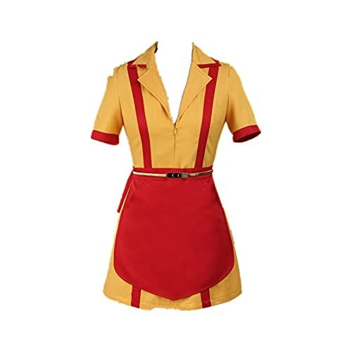 ULLAA Abito Fotografia Cosplay Broke Girls Caroline Channing Abito uniforme manica corta per mostra Festa di Natale Abito vestito giallo XL di
