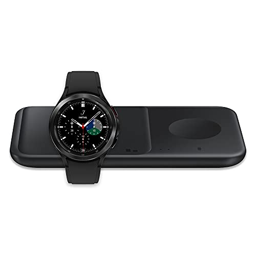 Samsung Galaxy Watch 4 Classic 42mm Smartwatch Bluetooth, Black (US Version) with Samsung Wireless Charger Fast Charge Pad Duo (2021), Black