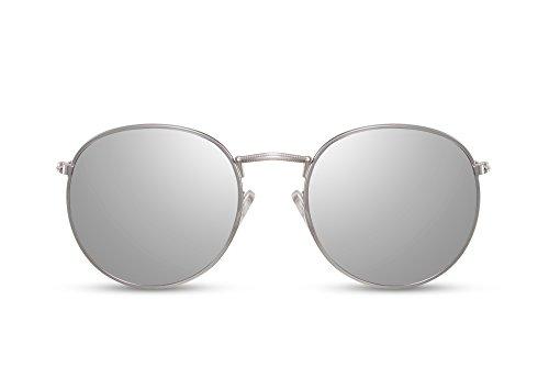 Cheapass Gafas de Sol Lentes Redondas con Espejos Plateadas UV400 Metálicas Hombre Mujer