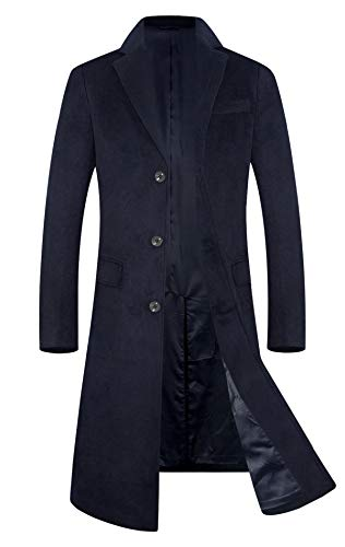 Men's Trench Coat Wool Blend French Long Jacket Business Top Coat Single Breasted 1801 Navy L