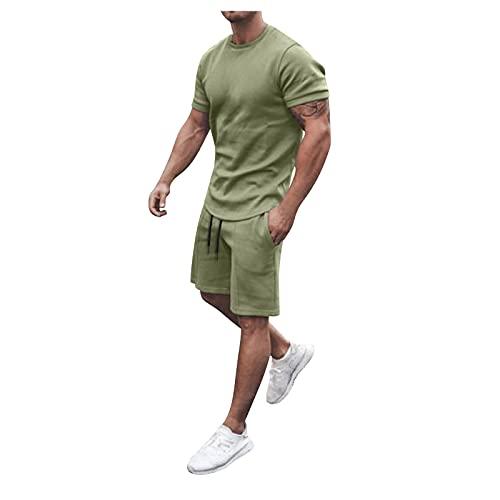 YANFANG Conjunto De Pantalones Cortos Y Camisas Manga Corta Playa Dos Piezas Verano para Hombre,Traje PantalóN Corto Color SóLido Hombre,Jogging Trajes Pantalones, Masculino,Verde,5XL