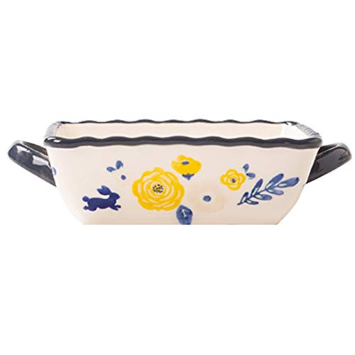 JIASHIQI Bandeja de cerámica Cuadrada para Hornear, Cuenco para Hornear, Horno microondas, Plato de arroz al Horno con Queso (Color : A, Size : 19.5 * 15.5 * 5cm)
