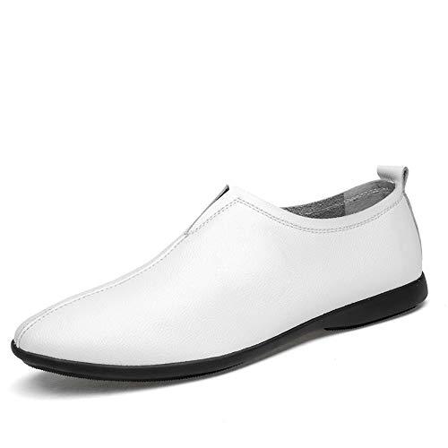 Neivobos Oxford-Schuhe für Herren, echtes Leder, Business-Kleid, Hochzeit, Loafers, atmungsaktiv, leicht, dünn, rutschfest, flach, zum Reinschlüpfen, runde Zehenpartie (Farbe: Weiß, Größe: 41 UK) thumbnail