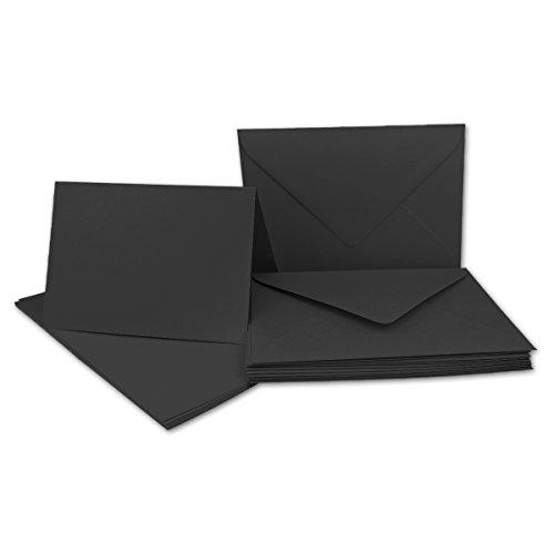 10x Faltkarten Set mit Brief-Umschlägen Schwarz - DIN A6 / C6-14,8 x 10,5 cm - Premium Qualität - FarbenFroh® von Gustav NEUSER®