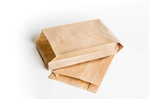FAYUNET- 100 Bolsas de Papel Kraft, Bolsa Regalos,chuches,Boda comunion,Bocadillo,Bolsitas para Guardar mascarillas, Sobres Regalo bocadillos (100pcs 12x21cm)