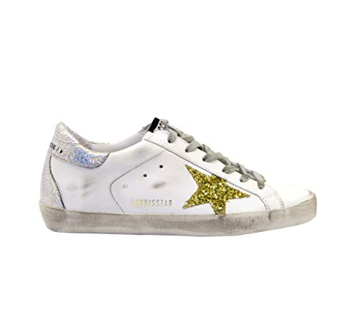 Golden Goose Sneakers Superstar Bianco Argento Oro, 40