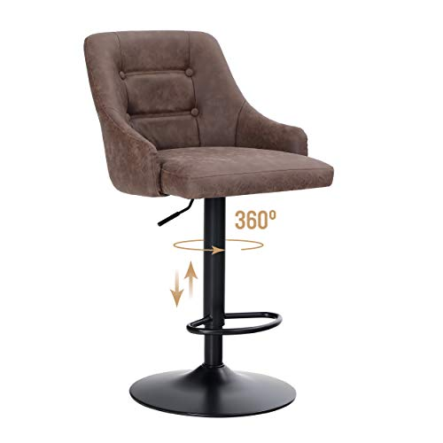 ALPHA HOME Swivel Bar Stool Adjustable Airlift Counter Height Bar Stool Kitchen Dining Cafe Hydraulic PU Leather Bar Chair with Padded Back and Black Chromed Metal Base, Brown,1PC