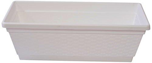 Hobby & Style 5351.0 balconiera avec décor rotin, Blanc, 50 x 28 x 18 cm