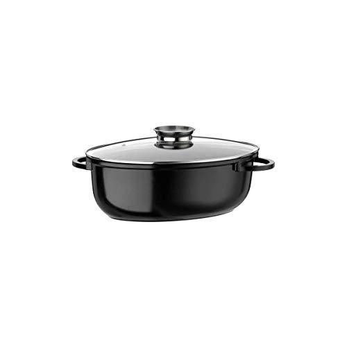 GSW Gourmet 410588Ceramica Induction Cocotte Ovale XXL avec Couvercle Protection de l'arôme en Verre 10L, Fonte d'aluminium, Noir moucheté, 42cm 4unités