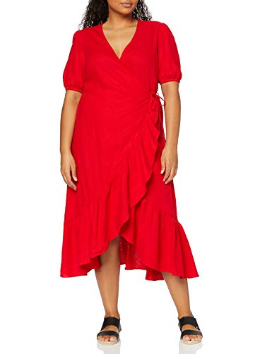 find. Damen Midi-Wickelkleid aus Leinen, Rot, 46, Label: 3XL