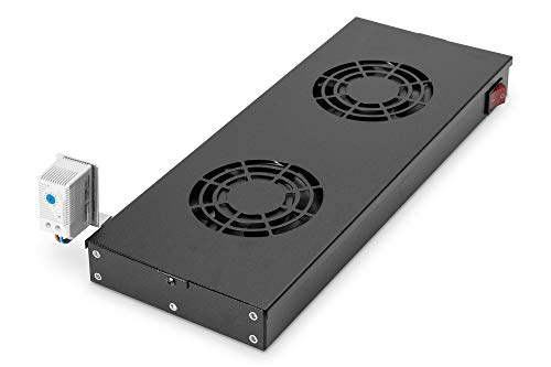 """Price comparison product image DIGITUS fan unit for 19"""" rack (1U),  or roof mounting in VarioFLEX server & network cabinet,  2x fan,  thermostat"""