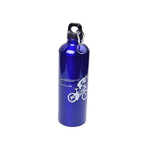 Botella De Montaña Bici De Agua Caldera De La Botella De Aluminio De Aleación De Deportes Acuáticos De Montar a Caballo De La Caldera con Mosquetón Azul