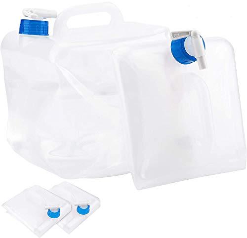 Bekith 4 Pack Plastik Wasserkanister Faltbarer Wasserbehälter Transparent Falteimer Camping, 10 Liter
