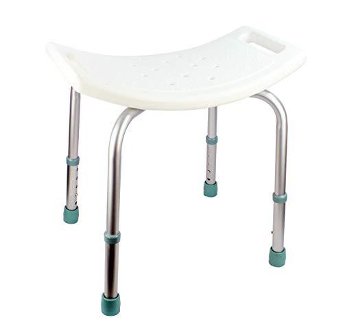 Silla de Ducha/Baño Ortopédico con Respaldo, Ajustable en Altura, Conteras Antideslizantes para Personas Mayores (7277457)