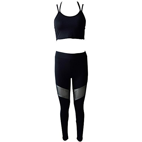 BOZEVON Femmes Fitness Danse Wear Set 2 Pièces Dames Fitness Porter Ensemble pour Yoga Pilates Gym Courir Sportswear, Style-2, EU M=Tag L
