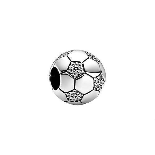 Pandora Moments Funkelnder Fußball Charm aus Sterling Silber mit Zirkonia Steinchen - Kompatibel mit Pandora Moments Armbänder - 798795C01