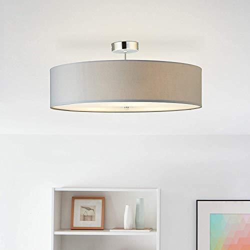 Moderna lámpara de techo con pantalla de tela, 60 cm de diámetro, 3 bombillas E27 máx. 60 W de tela/metal en gris claro/cromo.