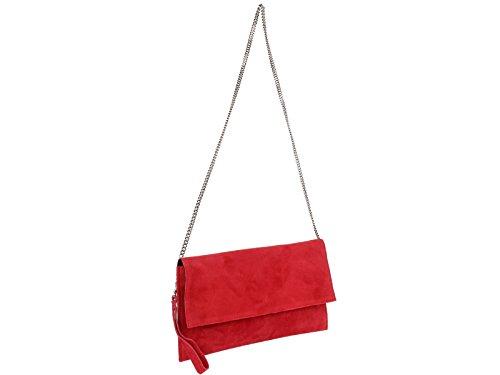 scarlet bag   Clutch Tasche Unterarmtasche Abendtasche Umhängetasche aus echtem Wildleder   Damen Handtasche; 31 x 17 x 1 cm (Rot)