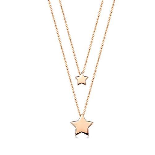 NSXLSCL Girocollo Collane Moda per Donne Argento Sterling 925 Collana A Forma di Lettera Star Semplice Collana Accessori Donna