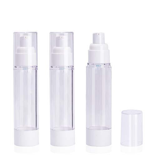 Noverlife 3 x 50 ml luftlose Vakuumpumpumpe für Kultur, Reiseflaschen, luftdichte Make-up-Kosmetik-Spender, nachfüllbar, auslaufsicher, TSA-geprüft, ideal für Creme-Foundation, Gel-Feuchtigkeitspflege