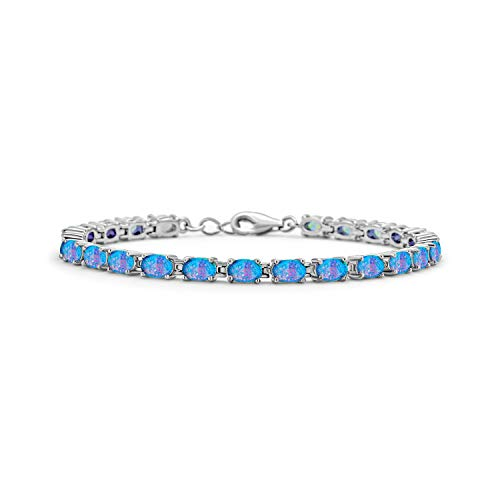 Bling Jewelry Simple Tennis Bracelet for Women for Girlfriend Blue Oval Created Opal 925 Sterling Silver October Birthstone