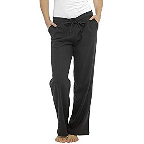 Damen Seniorenhose Schlupfhose mit Gummibund Frauen Leinen weites Bein Hosenhose Größe einfarbig elastische Taschen hohe Taille Hosen Mode lose Sommerhose Sonojie