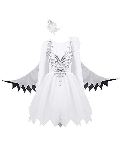 YiZYiF Kinder Schwan Kostüm Mädchen Langarm Pailletten Tutu Kleid Partykleid mit Flügel Kleiner Vögel Cosplay Tanzkostüm Karneval Fasching Gr. 98-152 Weiß 122-128