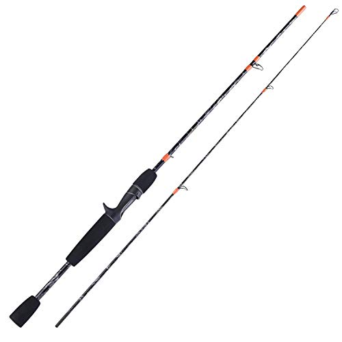 Sougayilang Spinning Rods and Casting Fishing Rods, 2 Piece Rod Composite Graphite and Glass Blanks, Stainless Steel Line Guides-5FT