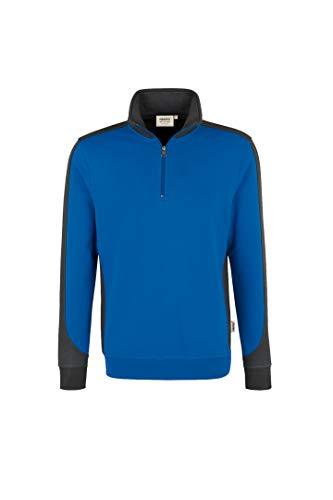 HAKRO Zip Sweatshirt Contrast Performance, HK476-royal, 4XL