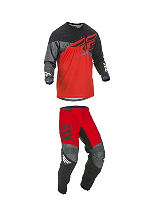 Fly Racing Youth F-16 Motocross Pants/Jersey Set Red/Black/Grey (26W Pants/Youth XL Jersey)