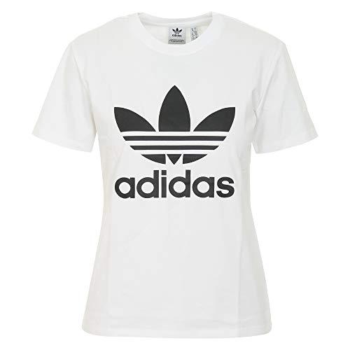 adidas アディダス レディース Tシャツ トレフォイル ミツバ ロゴ スポーツ フィットネス ウェア トップス インナー (ホワイト, L) [並行輸入品]