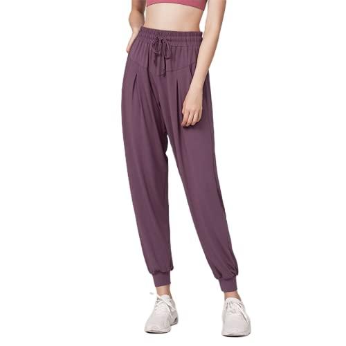 QTJY Leggings de Gimnasio Pantalones de Yoga para Mujer Pantalones Sueltos Casuales para Correr Pantalones de Yoga elásticos de Cintura Alta de Secado rápido Pantalones de Fitness EL