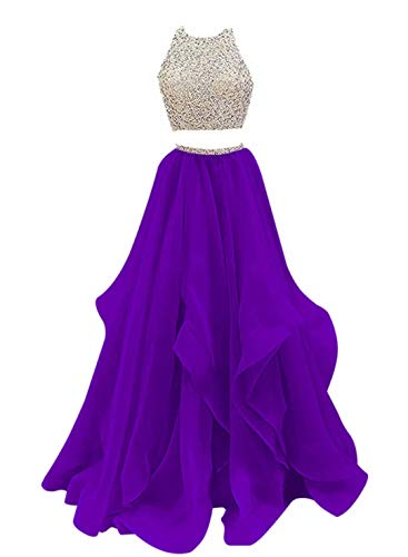 VinBridal 2019 Two Piece Beaded Floor Length Organza Evening Gown Prom Dresses Purple 6