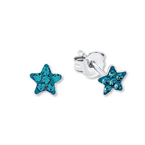 amor Ohrstecker für Mädchen 5 mm Sterne 925 Sterling Silber rhodiniert Kristall Türkis