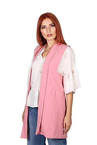Bobois Chalecos Mujer Casuales Moda Largos R03100PROS Color - Rosa Talla - Mediano