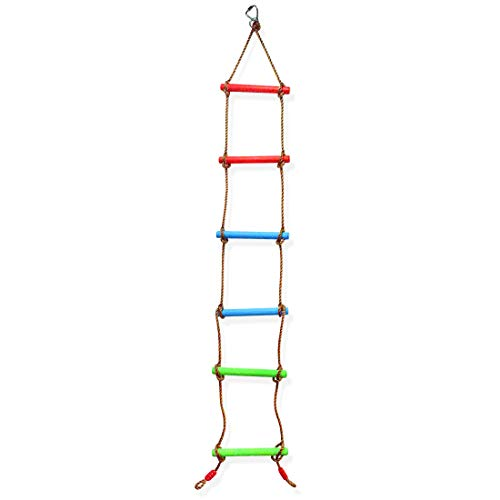 6.6 Ft Climbing Rope Ladder for Kids, Climbing Ladder Hanging Rope Ladder for Indoor Play Set and Outdoor Tree House, Playground Swing Set and Ninja Slackline