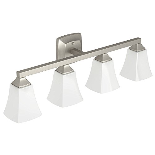 Moen YB5164BN Voss Collection 4 Dual-Mount Bath Bathroom Vanity Light Fixture with Frosted Glass, 7.24 x 9.61 x 32.76 inches, Brushed Nickel